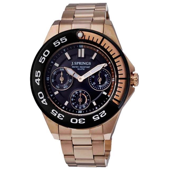 【J.SPRINGS系列】八度空間三眼時尚腕錶-玫瑰金(JSBLA013)