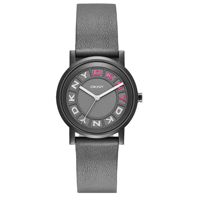 【DKNY】摩登熠光時尚腕錶-灰x桃x皮帶(NY2390)
