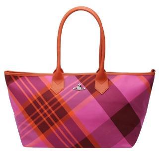【Vivienne Westwood】格紋帆布購物包(桃紅4907V ROSA)