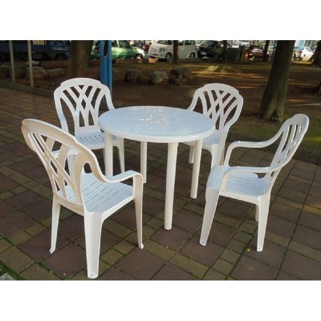 【BROTHER 兄弟牌】塑膠格網高背椅+90cm塑膠圓桌一桌四椅組(BROTHER 兄弟牌)