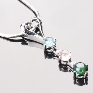 【寶石方塊】情定三生天然碧璽墜子-925純銀飾