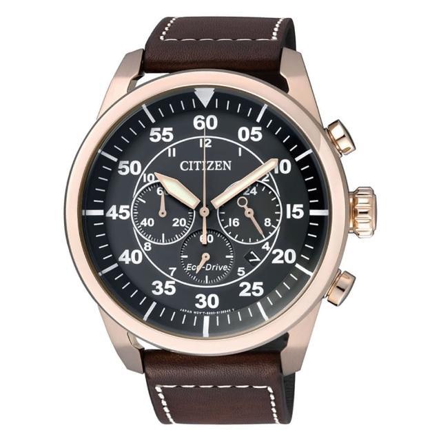 【CITIZEN】Eco-Drive 航空飛行計時三眼腕錶(黑金x咖啡/CA4213-00E)