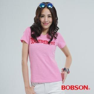 【BOBSON】女款英文字體印圖T恤(粉紅20118-10)