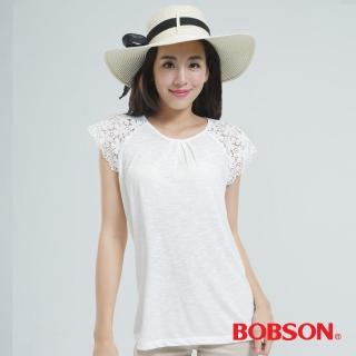 【BOBSON】蕾絲袖上衣(白色25086-81)