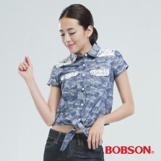 【BOBSON】綁結式配蕾絲布襯衫(米彩藍25131-53)