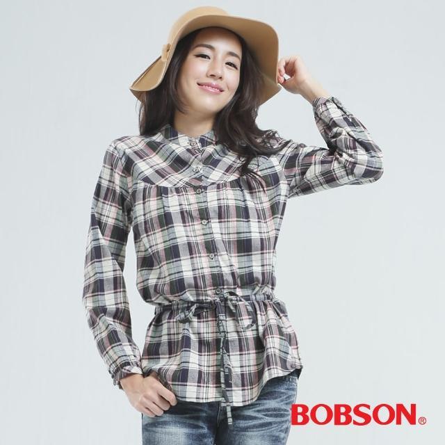 【BOBSON】女款小立領.格子衫(灰色30121-10)