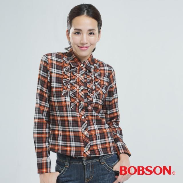 【BOBSON】綁帶.長版格子衫(橘色30122-75)物超所值