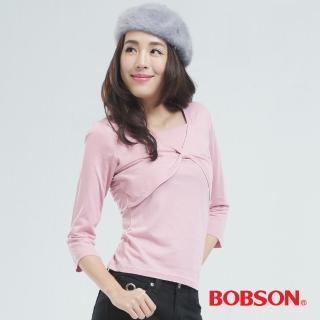【BOBSON】短罩衫.仿兩件式上衣(粉紅色65076-12)