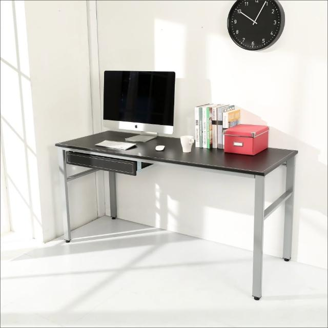 【BuyJM】環保低甲醛仿馬鞍皮160公分穩重型附抽屜工作桌(黑色)