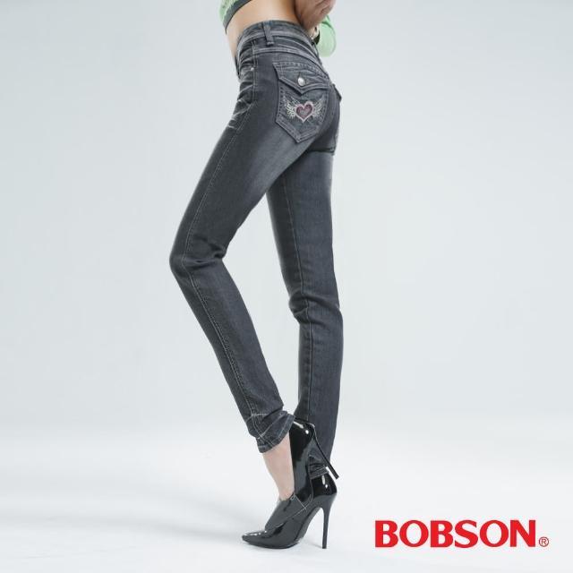 【BOBSON】鑽飾翅膀刺繡小直筒褲(中灰8044-87)