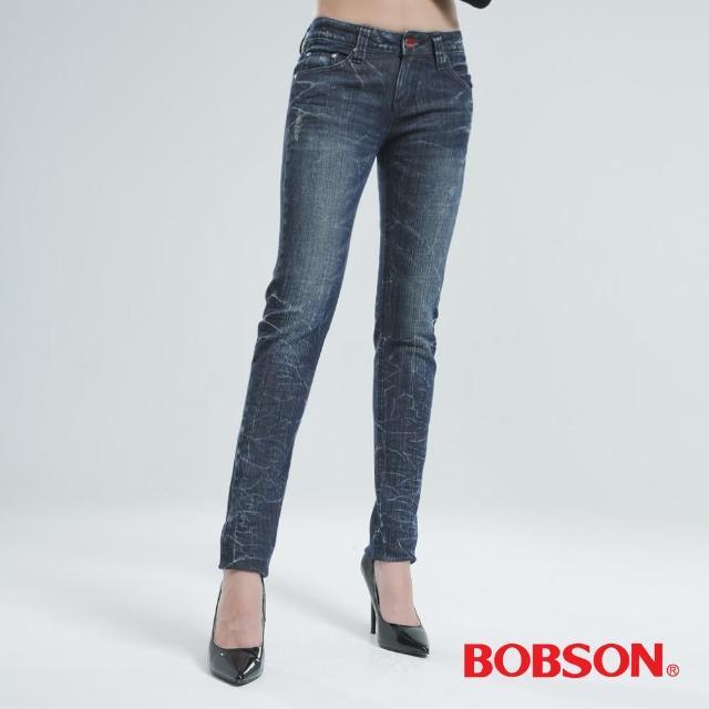 【BOBSON】女款微破地裂紋小直筒褲(中藍8047-53)
