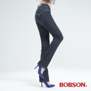 【BOBSON】保暖膠原蛋白直筒褲(深藍8099-52)