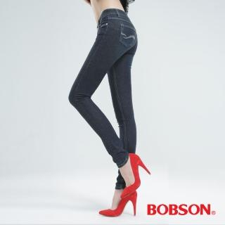 【BOBSON】強彈力小直筒褲(深藍8117-52)