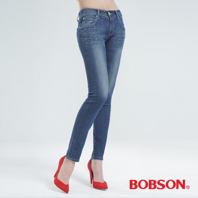 【BOBSON】鑽飾優質棉小直筒褲(中藍8120-53)哪裡買?