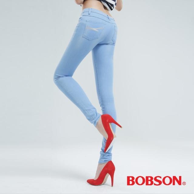 【BOBSON】大彈力緊身牛仔褲JEGGING(冰藍8124-58)