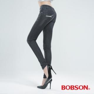 【BOBSON】大彈力緊身牛仔褲JEGGING(深灰8124-87)