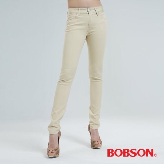 【BOBSON】吸濕快乾小直筒色褲(沙黃8128-72)