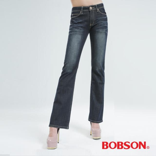 【BOBSON】女款熱感IN小喇叭褲(復古藍9080-52)