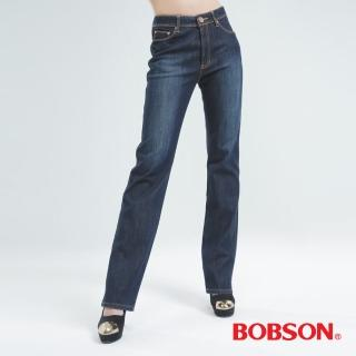 【BOBSON】女款熱感IN直筒牛仔褲(深藍9081-52)