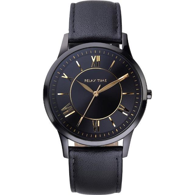 【RELAX TIME】RT58 經典學院風格腕錶-黑x金時標(RT-58-8L)
