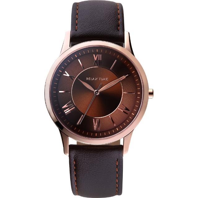 【RELAX TIME】RT58 經典學院風格腕錶-咖啡/42mm(RT-58-11M)