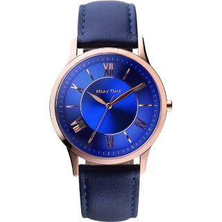 【RELAX TIME】RT58 經典學院風格腕錶-藍x玫瑰金框/42mm(RT-58-12M)