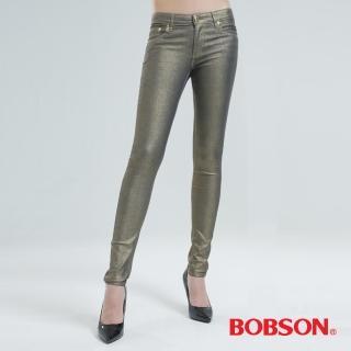 【BOBSON】金銀色緊身小直筒牛仔褲(香檳金8091-02)