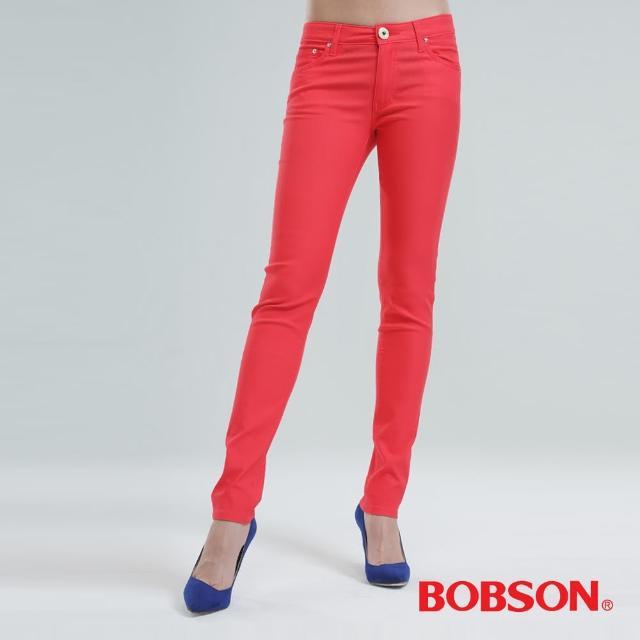 經典款式【BOBSON】彩色.強彈.磨毛小直筒褲(霓紅粉8105-21)