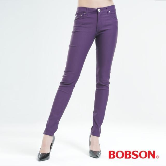 【BOBSON】彩色.強彈.磨毛小直筒褲(紫色8105-61)