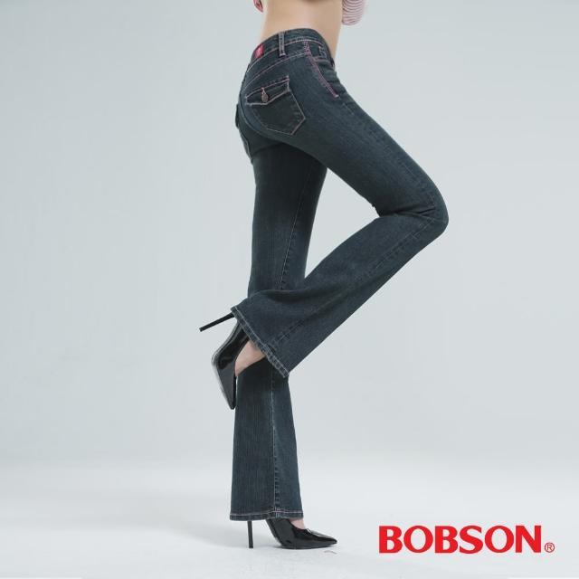【BOBSON】貓鬚刷白伸縮小喇叭褲(復古藍9015-77)