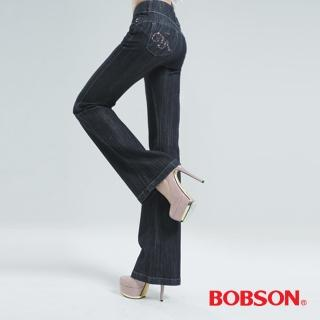 【BOBSON】高腰頭鑽飾伸縮喇叭褲(鐵灰9050-52)