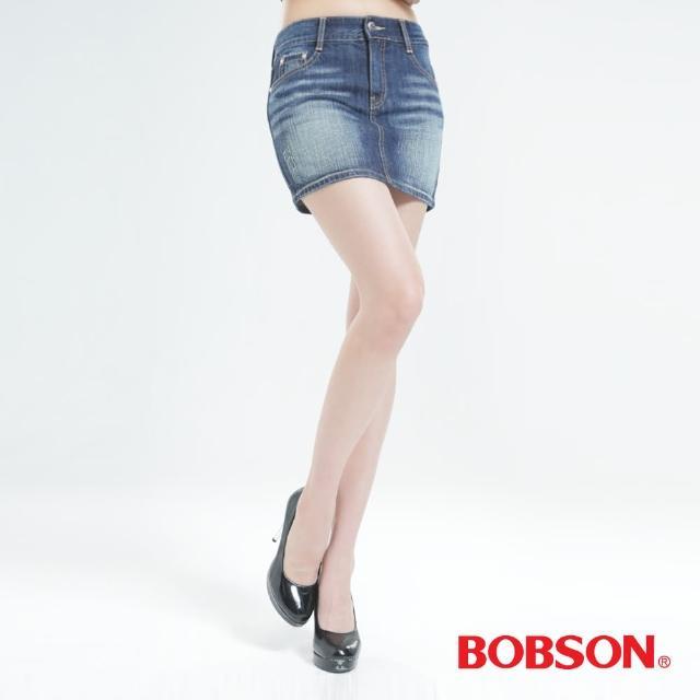 【BOBSON】蝴蝶結貼鑽牛仔短裙(深藍D088-53)
