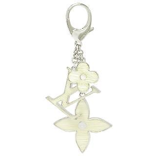 【LV】M66367 經典Monogram花卉EPI壓紋吊飾/鑰匙圈(象牙白)