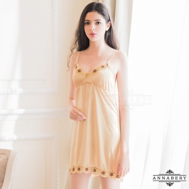 【Annabery】大尺碼Annabery典雅金色柔緞睡衣