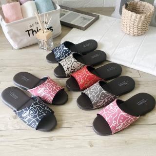 【iSlippers】經典皮質室內拖鞋-花漾(8雙特惠組)