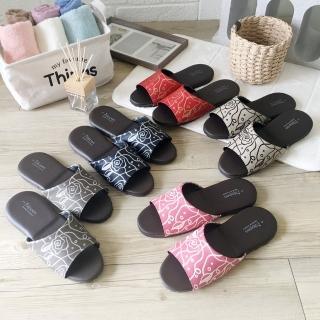 【iSlippers】經典皮質室內拖鞋-花漾(12雙特惠組)
