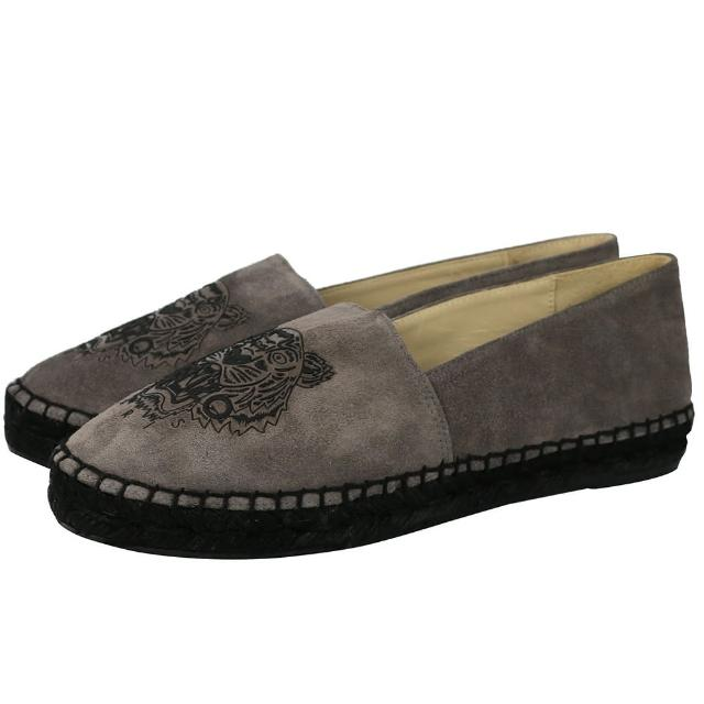 【KENZO】虎頭麂皮草編底樂福鞋(石灰色light grey)