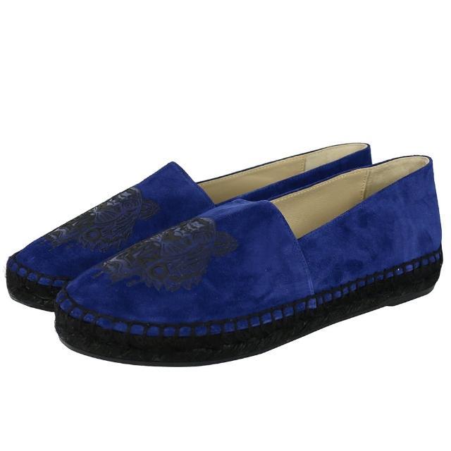 【KENZO】虎頭麂皮草編底樂福鞋(法國藍France Blue)