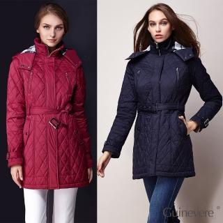 矜蘭妃名品菱格設計蠶絲鋪絲保暖外套