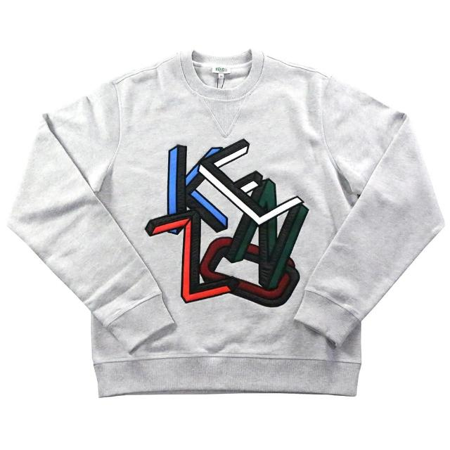 【KENZO】LOGO不規則圖案 男生厚款毛衣(淺灰色)