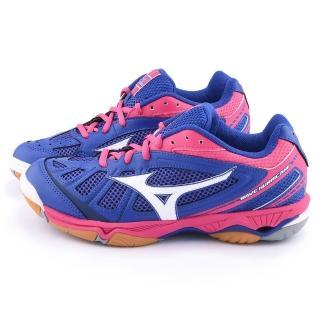 【MIZUNO】女款WAVE HURRICANE 排球運動鞋(V1GC154024-藍桃)