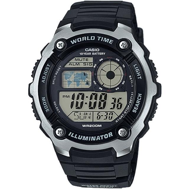 【CASIO 卡西歐】多功能數位運動錶(AE-2100W-1AVDF)
