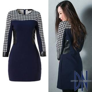 【DN Italy】知性女伶 顯瘦千鳥紋拼接羊毛素面連身洋裝(藍)