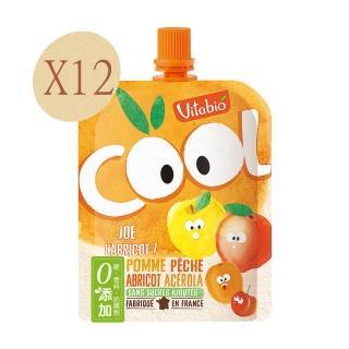 【法國Vitabio】有機優鮮果-蘋果.蜜桃.杏桃(90gX12)