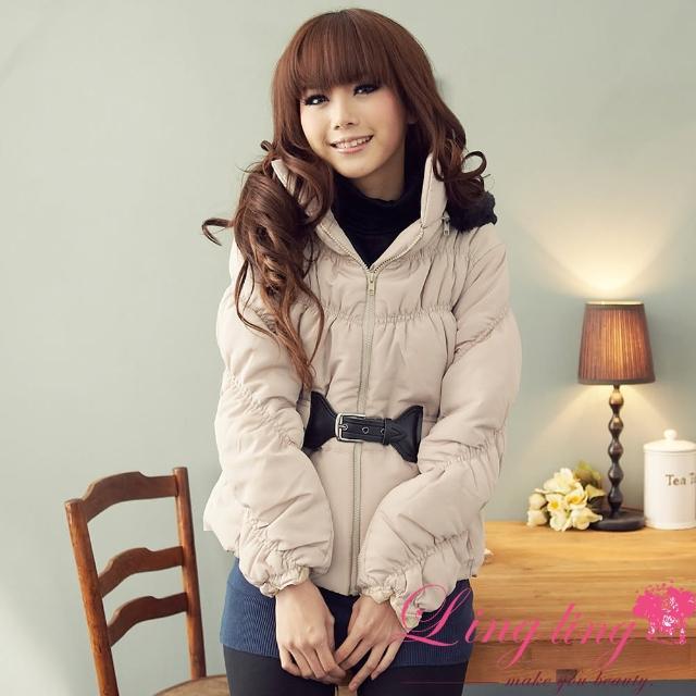 【lingling】優雅冬裝皮革扣環腰封毛帽舖棉外套PA553(溫柔米白)