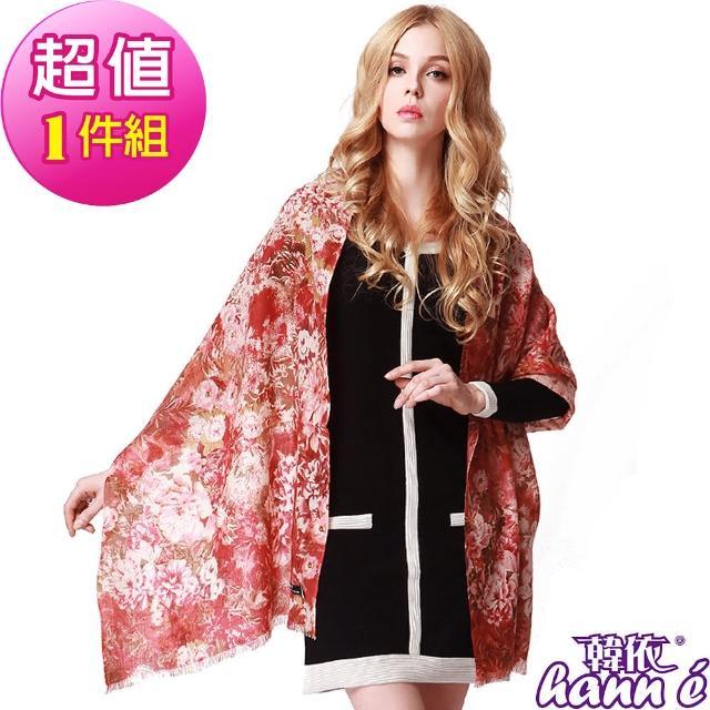 【韓依 HANN.E】100%純羊毛披肩圍巾(頂級印花時尚WY309PI-1)