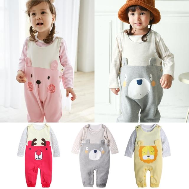 【baby童衣】簡約條紋上衣+內刷毛小熊造型吊帶褲 2件套 50819(共1色)