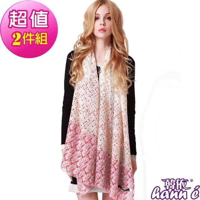 【韓依 HANN.E】100%純羊毛披肩圍巾(破盤2件組-WY335R-GR)