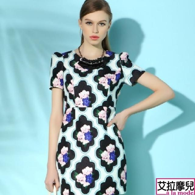 【a la mode 艾拉摩兒】歐美時尚印花短袖A字裙連衣裙洋裝(S-XXL)