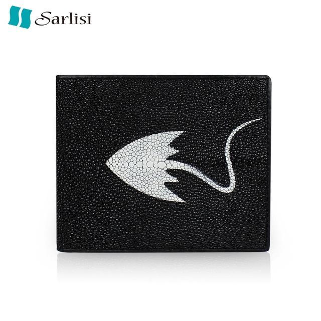 【Sarlisi】泰國品味生活珍珠魚皮兩折皮夾(黑-兩折皮夾)
